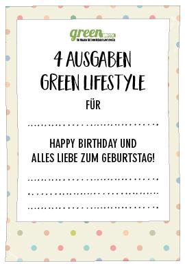 Geschenkgutschein für green Lifestyle Abo zum Geburtstag