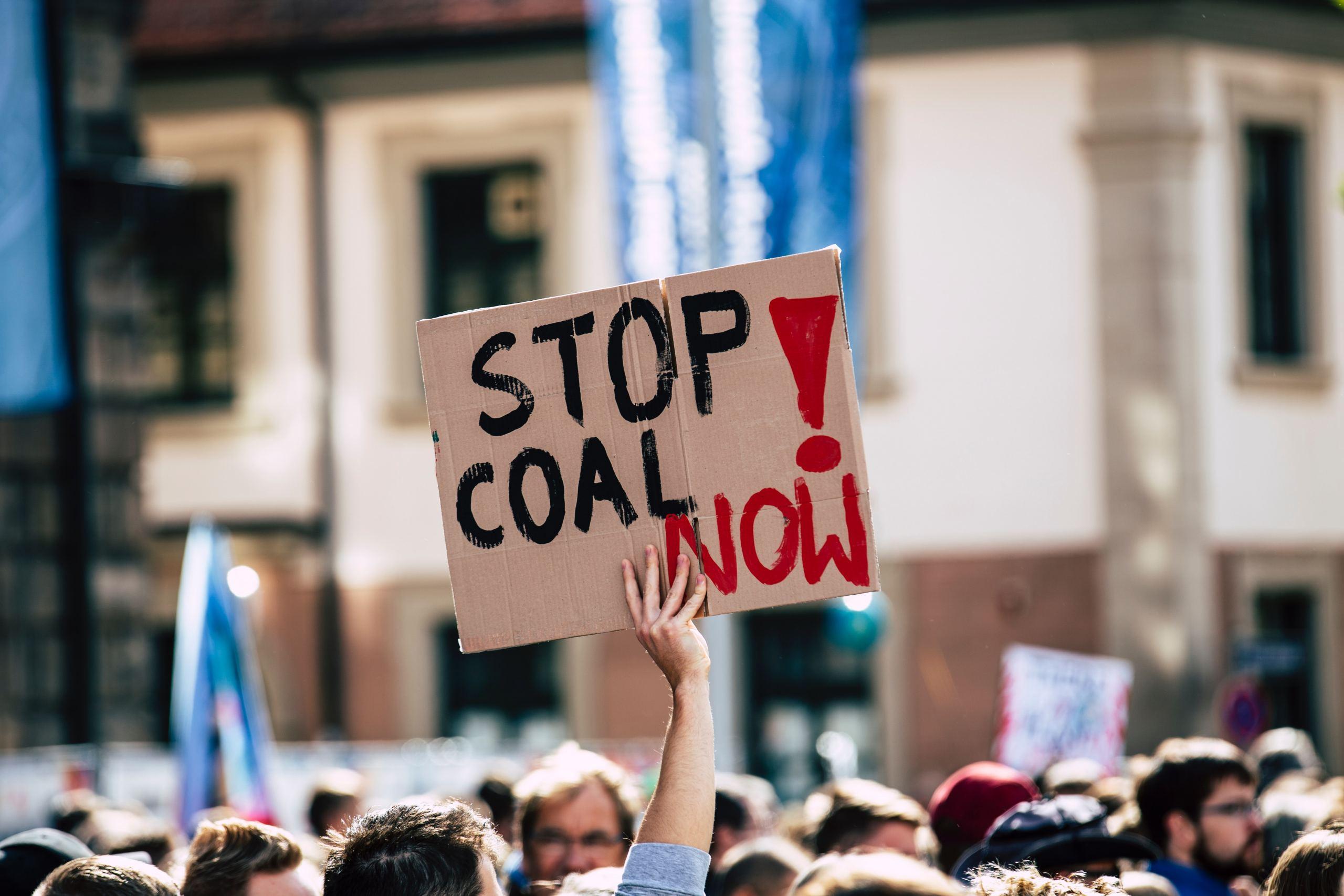 Protestschild mit Aufschrift Stop Coal Now!