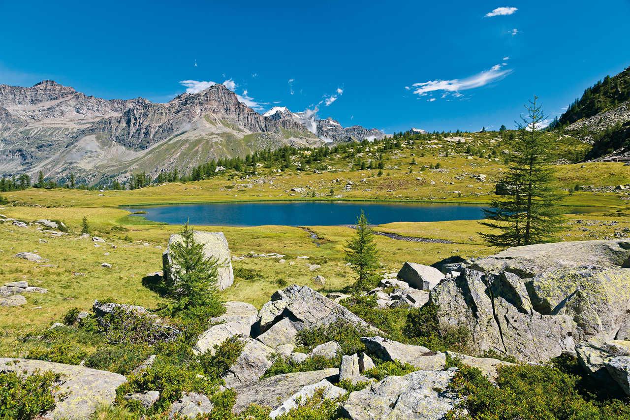 Berglandschaft mit grüner Wiese, blauem See und Felsen