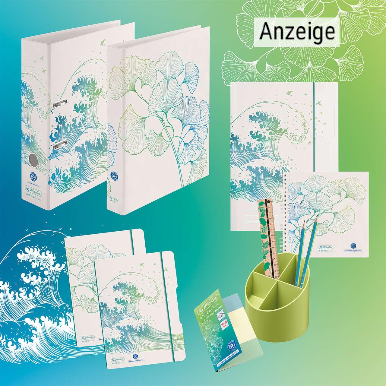 Produktauswahl Ordner, Mappen und Stiftehalter von der nachhaltigen Green Line von Herlitz