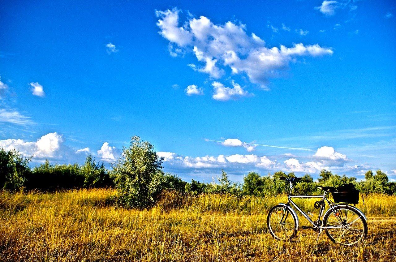 Fahrrad steht in goldgelben Feldern im Spätsommer mit leuchtend-blauem Himmel.