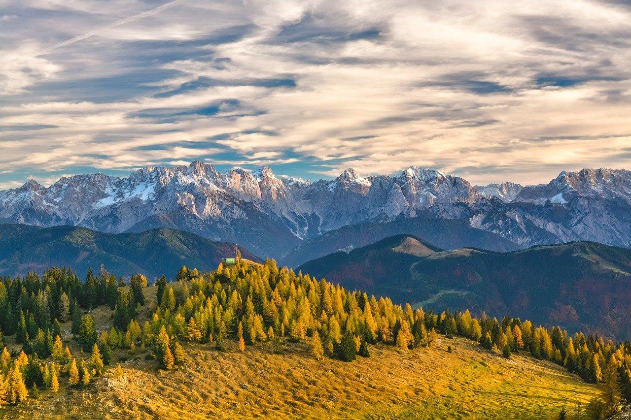 Bergpanorama mit Wiese und Bäumen im Vordergrund und felsigen Gipfeln im Hintergrund
