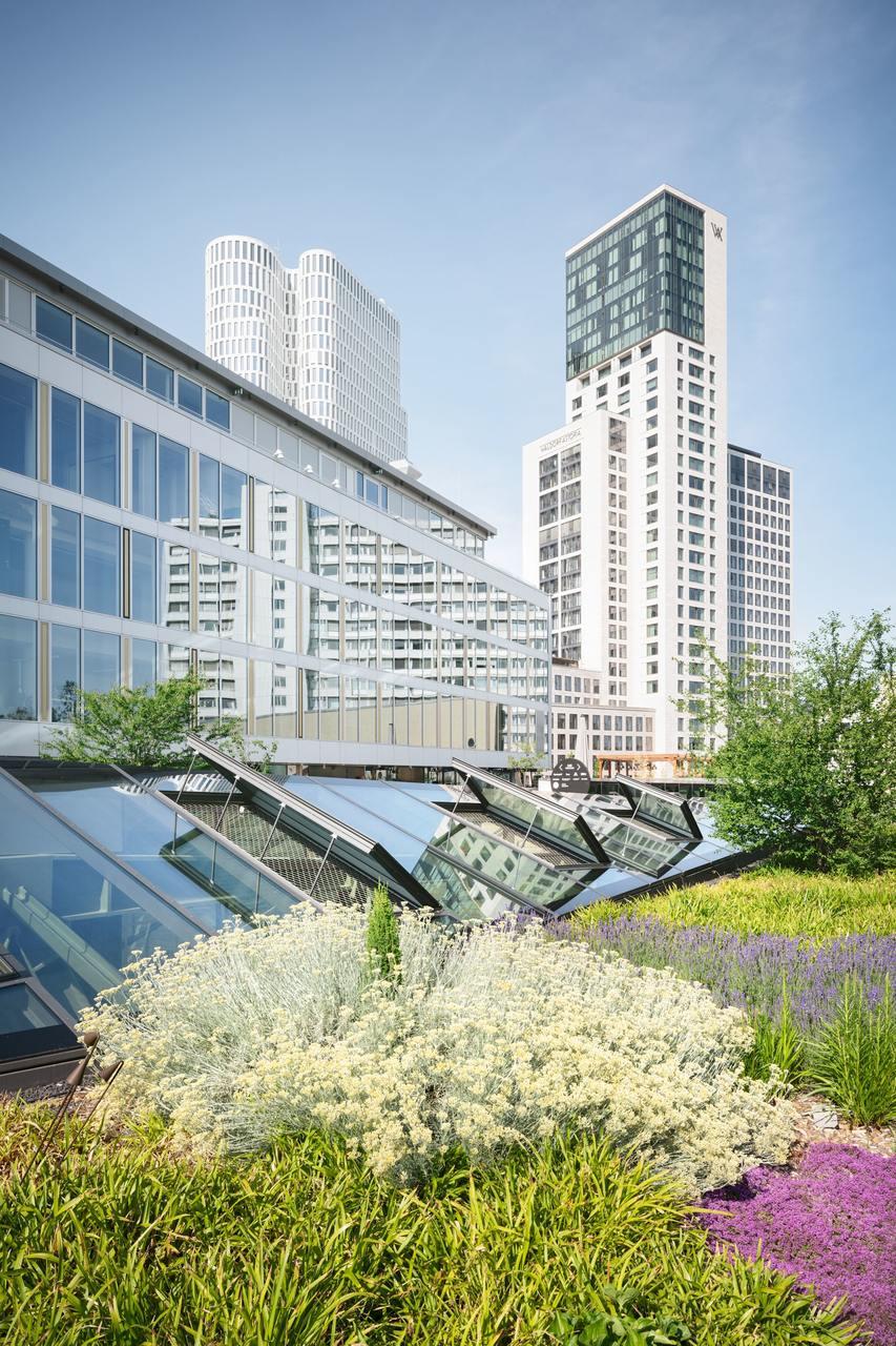 Dei Rückseite des Bikini Berlin Gebäudes mit begrünter Dachterrasse und verglasten Dachfenstern.