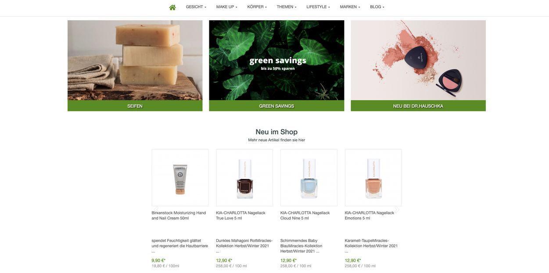 Ansicht des Webshops von Pure Schönheit Naturkosmetik