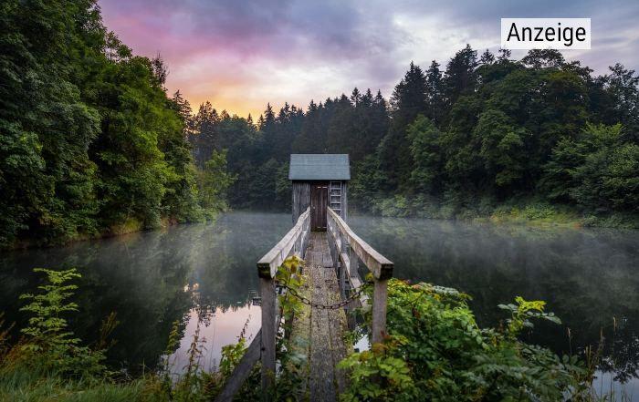 Blick auf einen Steg, der in einen See hineinragt, im Abendlicht.