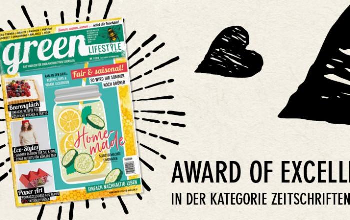 Das Cover der green Lifestyle Ausgabe 03.2018 ist umgeben von illustrierten Herzen und einem Strahlenkranz aus schwarzen Strichen, die die Freude über die Auszwichnung Award of Excellence des ICMA ausdrücken.