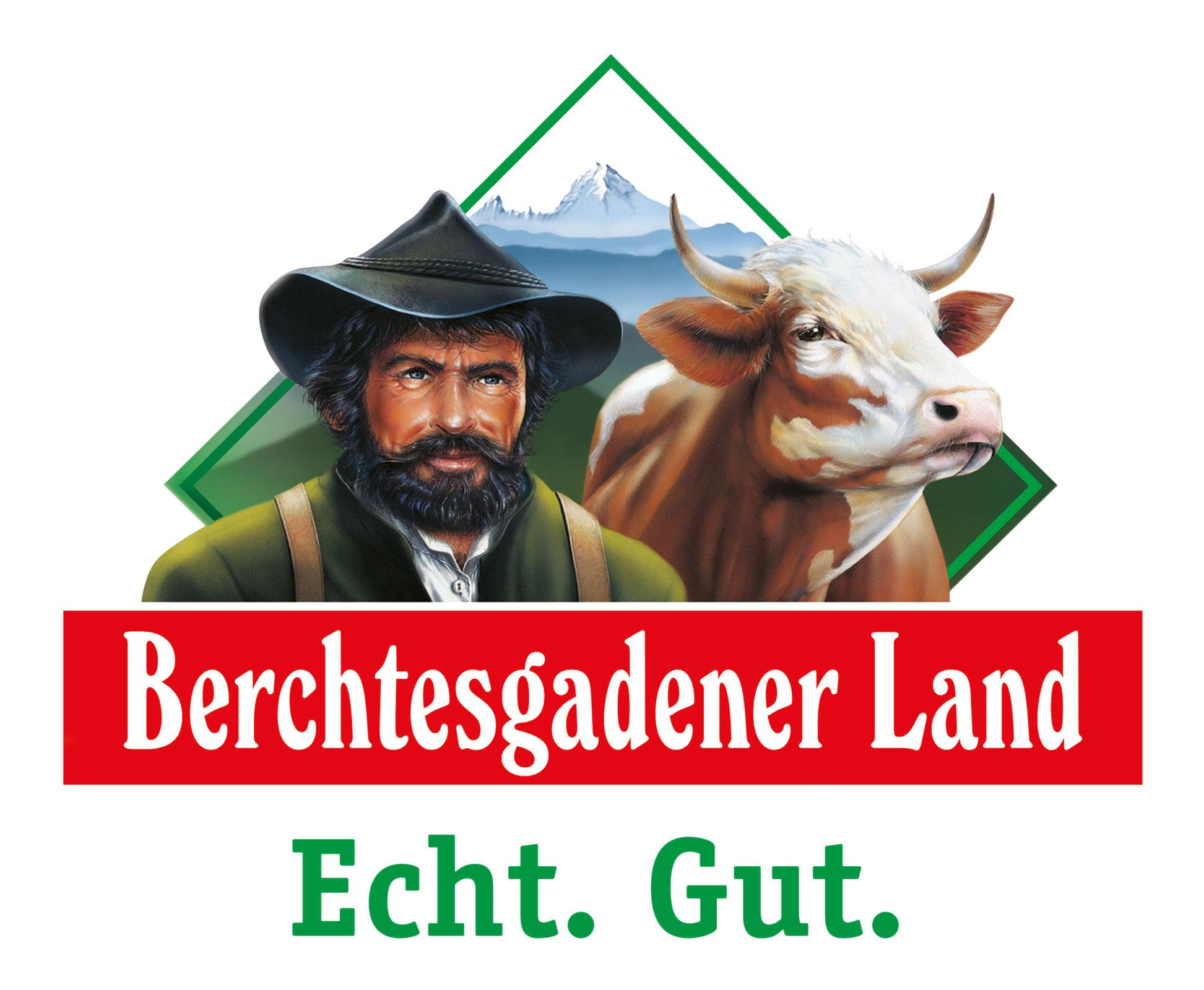 """Das Logo der Molkerei Berchtesgadener Land zeigt eine ggrüne Raute auf weißem Hintergrund in der ein bärtiger Milchbauer sowie eine Kuh über dem rot hinterlegten Schriftzug """"Berchtesgadener Land"""" abgebildet sind."""