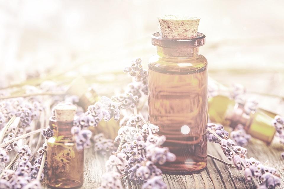Ein braunes Fläschchen mit Korkverschluss steht auf einem holzigen Untergrund und enthält eine Flüssigkeit, die Bachblüten symbolisiert, was man an den getrockneten lilafarbenen Blüten erkennt, die um die Flasche aus Braunglas herumliegen.