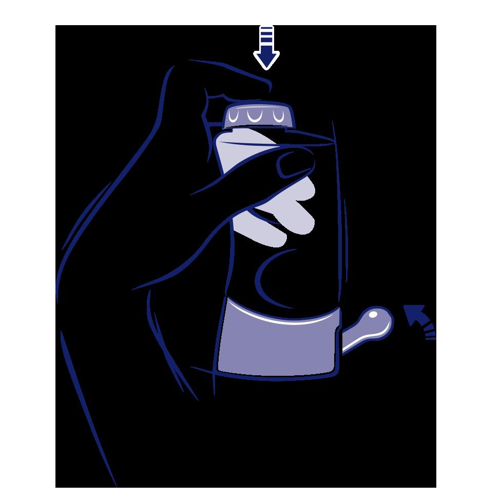 Die blaue Illustration verdeutlicht, dass die Dusche leicht geschwenkt werden muss, damit sich das Nasenspülsalz auflöst.