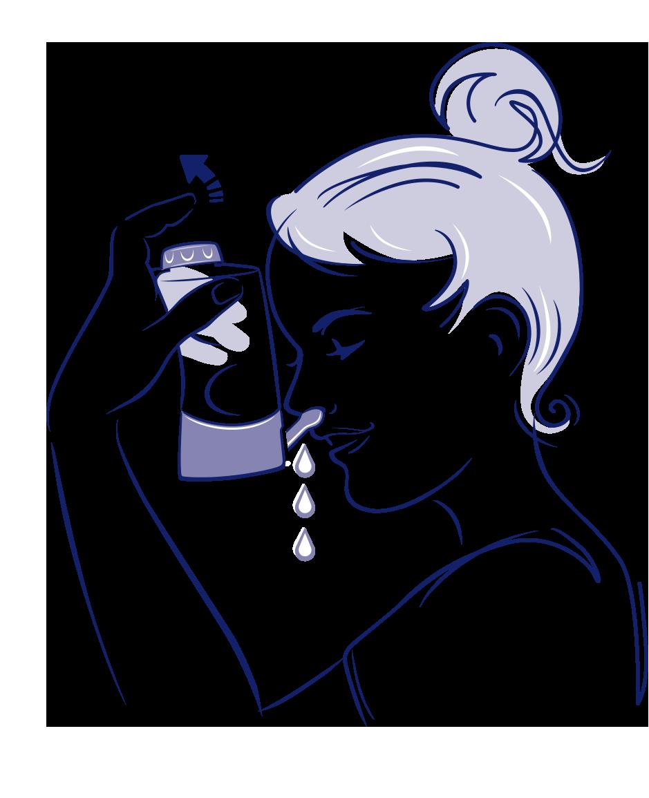 Eine junge Frau spült ihre Nase mit einer Nasendusche.