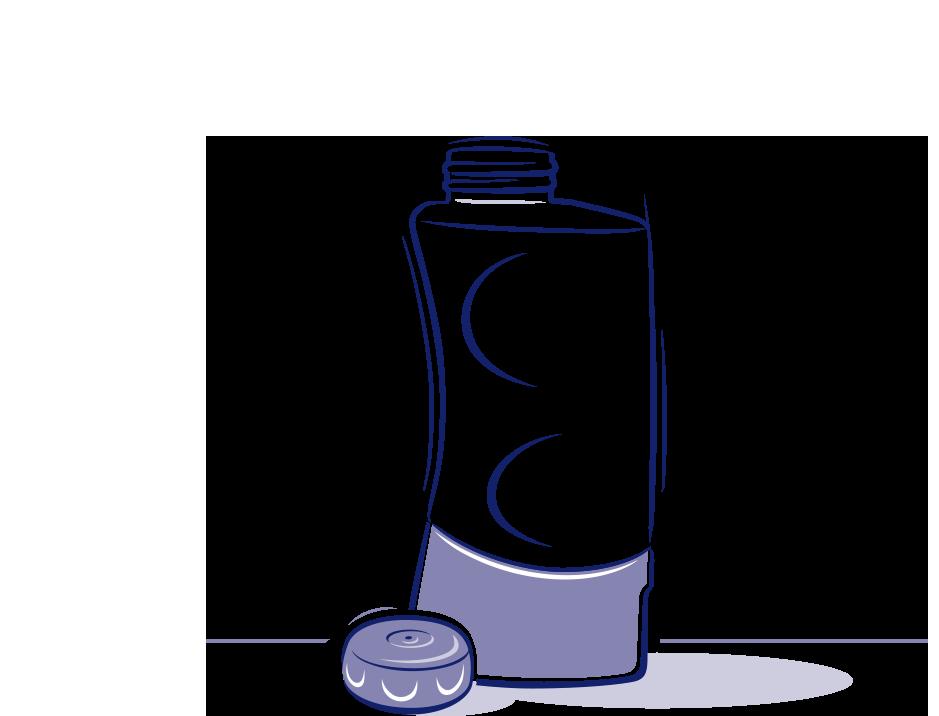 Eine illustrierte Nasendusche soll zeigen, wie man den Behälter nach Gebrauch säubert.