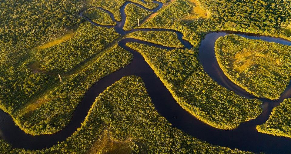 Die Luftaufnahme zeigt einen Ausschnitt des Amazonas Regenwaldes vor dem Waldbrand und soll verdeutlichen, wie wichtig das Gebiet für das Weltklima ist.