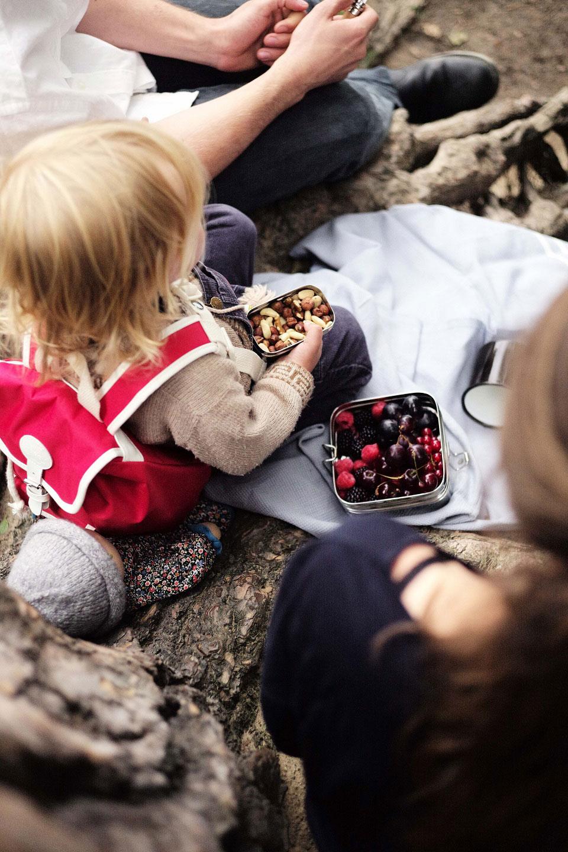 Während eines Familienausflugs macht ein kleiner blonder Junge mit seinen Eltern Rast und nascht frische Beeren aus einer plastikfreien Edelstahlbox.