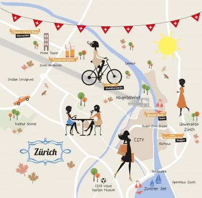 Auf der Stadtkarte von Zürich sieht man die wichtigsten Punkte für einen grünen Städte-Trip in die Schweiz.