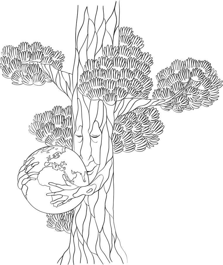 Die Marke ÜBERWOOD® erkennt man an dem illustrierten Kiefernbaum, der bei dieser Darstellung eine Erdkugel umarmt.