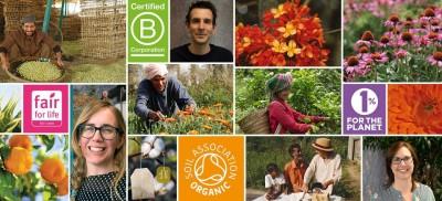 Die Collage zeigt zum einen zufriedene Konsumenten, zum anderen die Logos verschiedener Zertifikate und Bauern während der Arbeit.