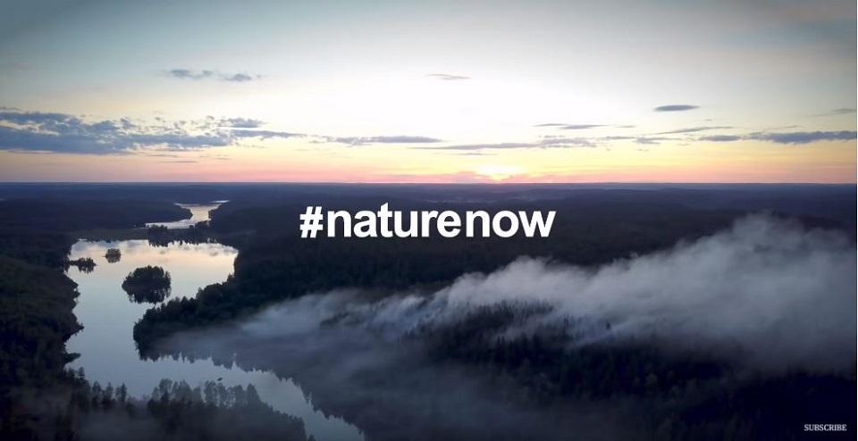 Über der Landschaft im romantischen Licht der Dämmerung steht der Hashtag Naturenow.