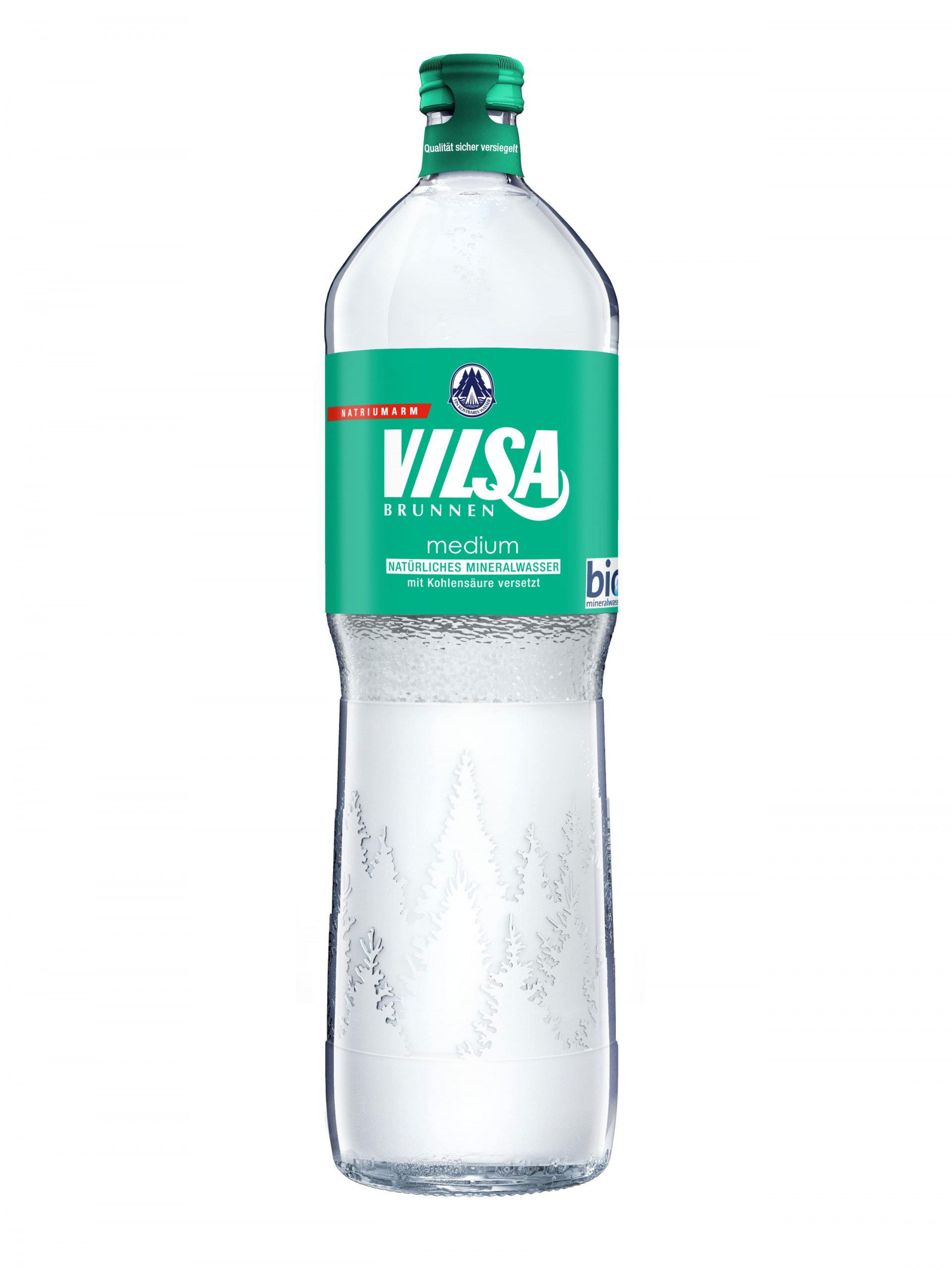 Mineralwasserflasche Vilsa medium mit grünem Etikett.