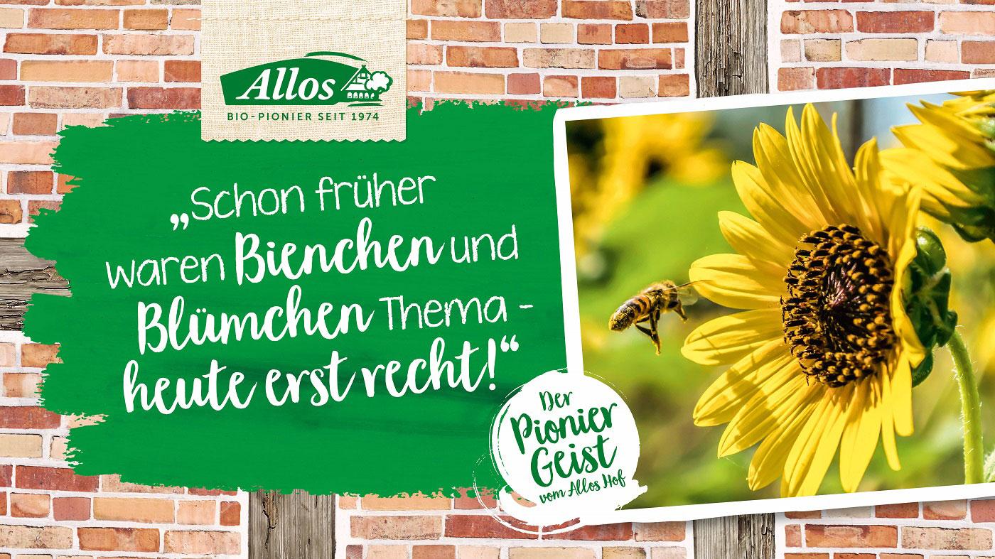 Allos engagiert sich mit dem Projekt Biene sucht Blüte für die Artenvielfalt.