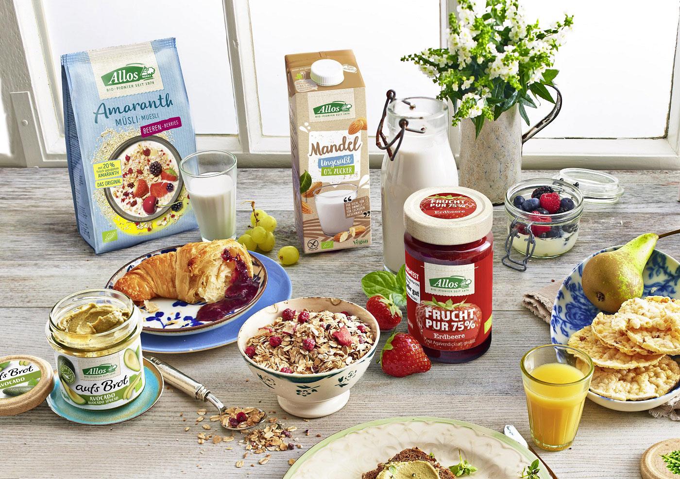 Frühstücksprodukte in Bioqualität von Allos.
