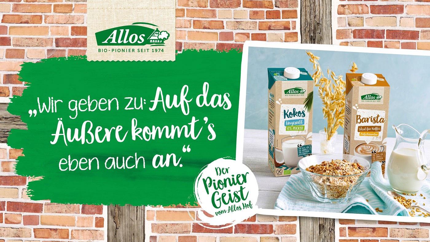 Die Verpackungen der Milchalternativen von Allos sind so nachhaltig wie möglich.