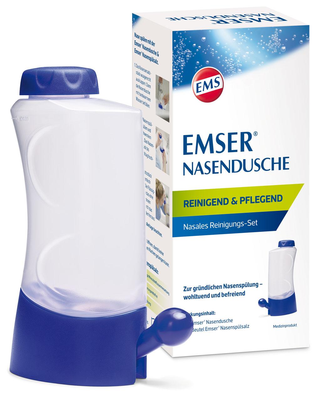 Nasales Reinigungsset von Emser mit Nasenspülsalz und Nasendusche.