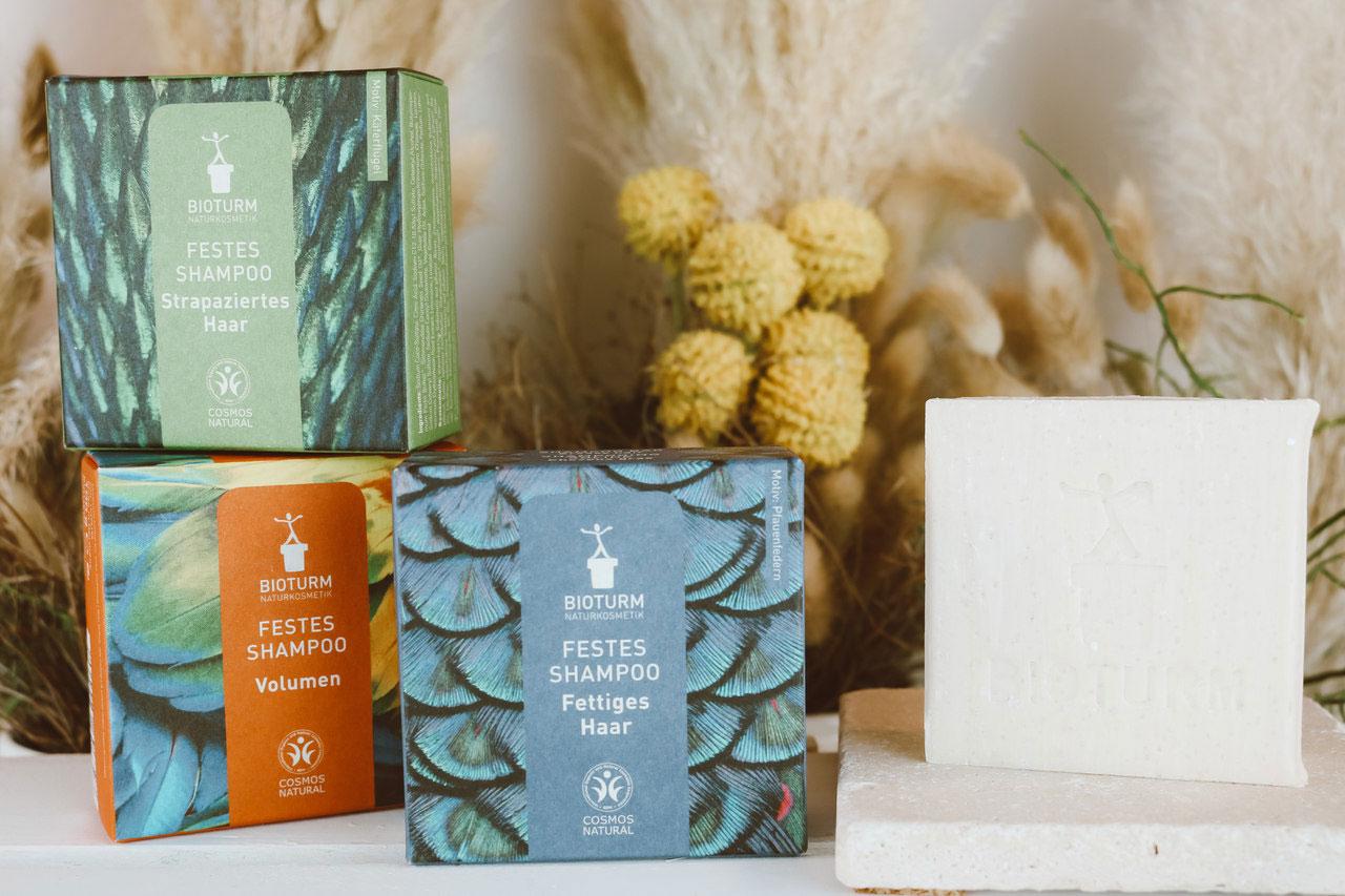 Drei Sorten festes Shampoo von Bioturm