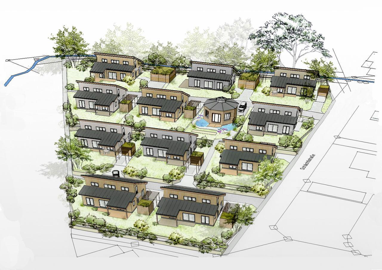 Draufsicht auf Skizze des Senioren Wohnpark Waldmünchen